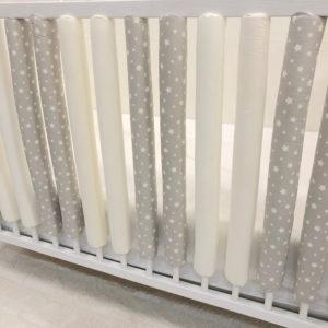 zaštitne navlake za rešetke krevetića zvjezdice bež krem