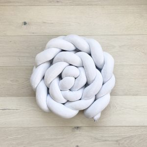 Braided crib bumper white