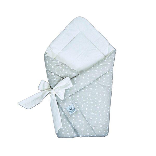 dekica za zamatanje paketina za bebe zvjezdice bijele na bež