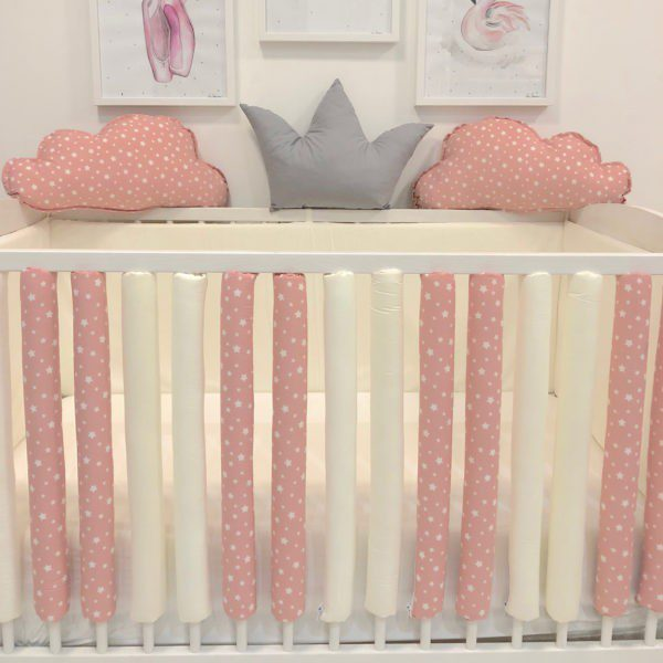 krevetić za bebe i zaštitne navlake za rešetke krevetića zaštita zvjezdice bijele na rozoj krem