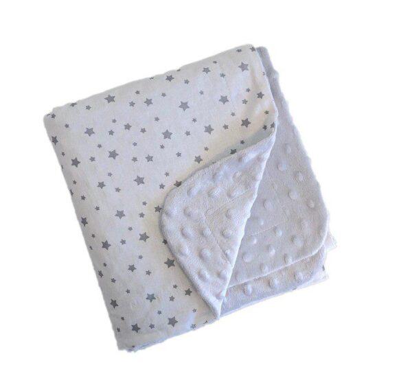 dekica minky zvjezdice sive za bebe za krevetić